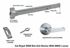 "Cal-Royal 36"" Push Bar Panic Exit Device, Aluminum, With Exterior Lever, New"