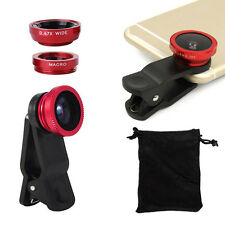 New 3in1 Fish Eye+ Wide Angle + Macro Camera Clip-on Lens Universal For Phone CA