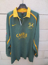 VINTAGE Maillot SA rugby AFRIQUE du SUD Nike shirt SOUTH AFRICA vert coton XL