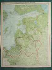 1921 LARGE MAP ~ BALTIC STATES & EAST PRUSSIA ~ LITHUANIA COURLAND VILNA