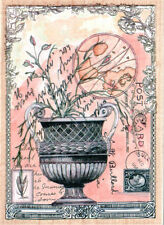 NEW L JAN WEISS RUBBER STAMPS HAPPEN POSTCARD COLLAGE Urn with flowers