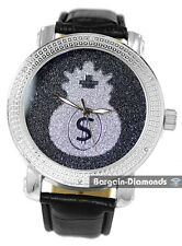 mens diamond silver watch black dial silver money bag leather warranty maxx