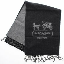 New Coach 83138 Men's Bicolor 100% Cashmere Winter Tassel Scarf Black Grey $198
