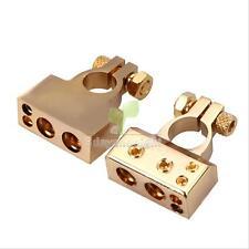 1/0 0 2 4 8 awg Gauge GOLD CAR HD Battery Terminal 1 Pair Positive Negative Set