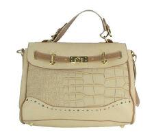 Dorothy Perkins Dark Cream Handbag with Mock Crocodile Panel Top Handle & Should