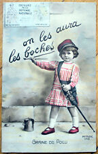 1917 WWI French Postcard: Little Girl Writing on the Wall, 'Graine du Poilu'