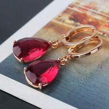 Picturesque style garnet 18k gold filled modish twinkling dangle earring