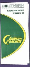 1975 Southern Crescent Railway Time Tables / Schedules