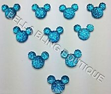 100 BLUE MINNIE MICKEY MOUSE SPARKLY HEAD FLATBACK RESINS EMBELLISHMENTS