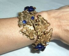 very early Miriam Haskell WRAP BRACELET w/ COBALT GLASS BEADS