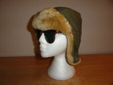 "Men's Vtg Olive Green EDDIE BAUER ""DOWN"" Aviator/Trapper Hunting Winter Hat Sz-S"