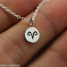 ARIES NECKLACE - 925 Sterling Silver - Tiny Horoscope Zodiac Charm Jewelry *NEW*