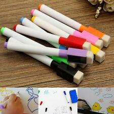 8 Colour Set Magnetic White Board Markers Magnet Pens &Dry Eraser Easy Wipe Bar
