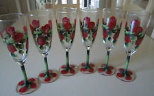 Set of Six Hand Painted Red Rosebud Champagne Flutes