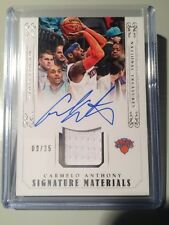 2014-15 National Treasures Carmelo Anthony Signature Materials Jersey Auto #/35