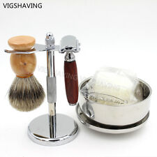 Padauk Wood Double Safety Razor Best Badger Hair Shaving Brush Stand Kits set