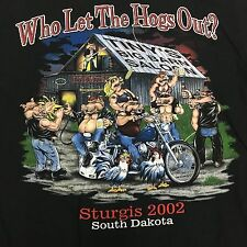 VTG nwot Who Let The HOGS Out STURGIS L BIKER 2002 Party T Shirt Motorcycle