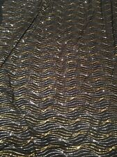 All OVER HEAVY WAVY SEQUIN STRETCH JERSEY-BLACK/GOLD/SILVER -DRESS FABRIC-