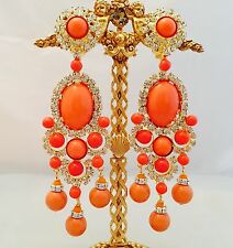 LAWRENCE VRBA Crystal Art Glass Chandelier Earrings OOAK 5.0""
