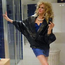 LADIES 80s True VINTAGE BATWING Soft LEATHER JACKET UK 10 Preloved