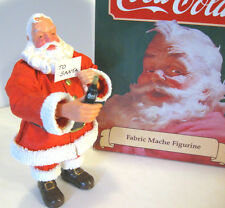"COCA COLA SANTA w/ Coke Bottle & Letter 7"" Figure Fabric Mache Willitts 1989 NOS"