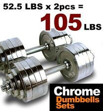 A Pair 105 lbs Chrome Plated Adjustable Dumbbells Weight Set 52.5 lbs x2pcs