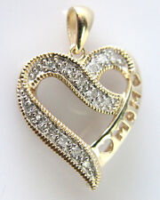 Mothers Day 10k Yellow Gold Diamond Heart Pendant Charm For MOM