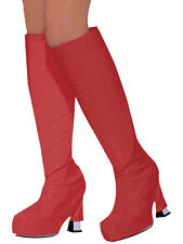 Womens Go Go Boot Covers 19060s 1970s Hippy Fancy Dress Red Accessory Mod GoGo