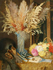Oil painting William Merritt Chase - Still life Chrysanthemums and ears of corn