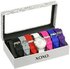 XOXO Women's XO9043 Seven Color Silicone Rubber Interchangeable Strap Set Watch
