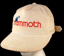 Vtg Ski Mammoth Mts Calif White Corduroy Baseball Cap Hat Strapback Bump Bonnets
