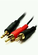 Extra Long 15m 3.5mm Jack Plug to 2x RCA Cable Twin Phono Audio Lead Stereo GOLD