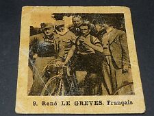 CYCLISME GLOBO GEANTS ROUTE TOUR 1937 N°9 RENE LE GREVES FRANCE CICLISMO
