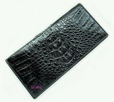 CROCODILE ALLIGATOR HORNBACK SKIN LEATHER LUXURY CLUTCH PURSE BLACK WALLET