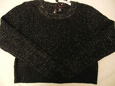 NEW Boy Meets Girl Black Cropped Pullover Knit Sweater Juniors Girl L Large $38.
