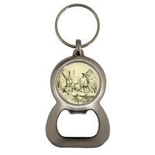 Vintage Style Tea Party Bottle Opener Keyring mad hatter hare dormouse Tenniel