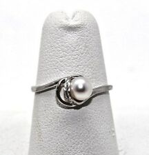Solid 14K SZ 6.5 white Gold  Pearl Ring CUTE