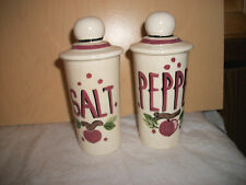 Vintage White Salt & Pepper Shakers with Mauve and Apple Design