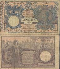 REGNO D'ITALIA,5 LIRE MATRICE LATERALE  DEC.20 DICEMBRE 1925 R@RO 3 VOLTE BB-