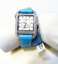 """Judith Ripka Stainless Steel & Leather Strap Wrap Watch """"TURQUOISE""""  NEW"""
