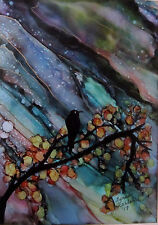 "Original Painting 4x6"" starry sky branches black bird raven gold  by L Kohler"