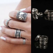Retro Fashion Women Silver Elephant Joint Knuckle Nail Ring Set of Four Rings