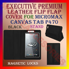 ACM-EXECUTIVE LEATHER FLIP CASE for MICROMAX CANVAS TAB P470 COVER STAND - BLACK
