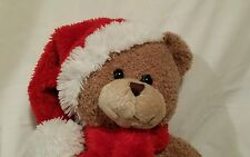 20 INCH PLUSH BROWN TEDDY BEAR RED SANTA HAT & SCARF WITH WHITE TRIM CHRISTMAS