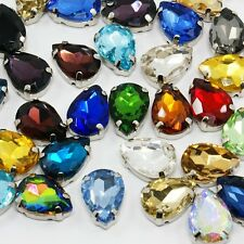 10pcs Glass Rhinestone Montee Bead Faceted Drop Platinum Mixed DIY Embellishment