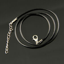 10 Pcs Black Leather Cord Necklace With Lobster Clasp Charms Jewelry DIY 2mm