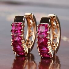 Luxury 18k gold filled ruby unique style Eternity Party Huggie earring