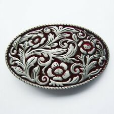 NEW COWGIRL RED  WOMAN FLORAL 3D FLOWER WESTERN BELT BUCKLE