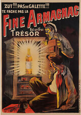 Fine Armagnac, 1902 Vintage French Wine Advertising Giclee Canvas Print 20x28