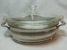 Vintage Oval Pyrex Baking Dish with Lid and Metal Holder